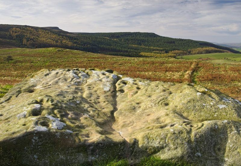 Cup and Ring marked rock on Lordenshaws near Rothbury