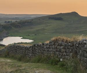 Hadrian's Wall snaking down towards Hotbank and Crag Lough