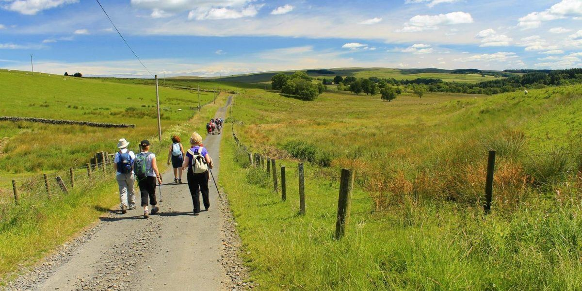 walkers on a path in Northumberland National Park