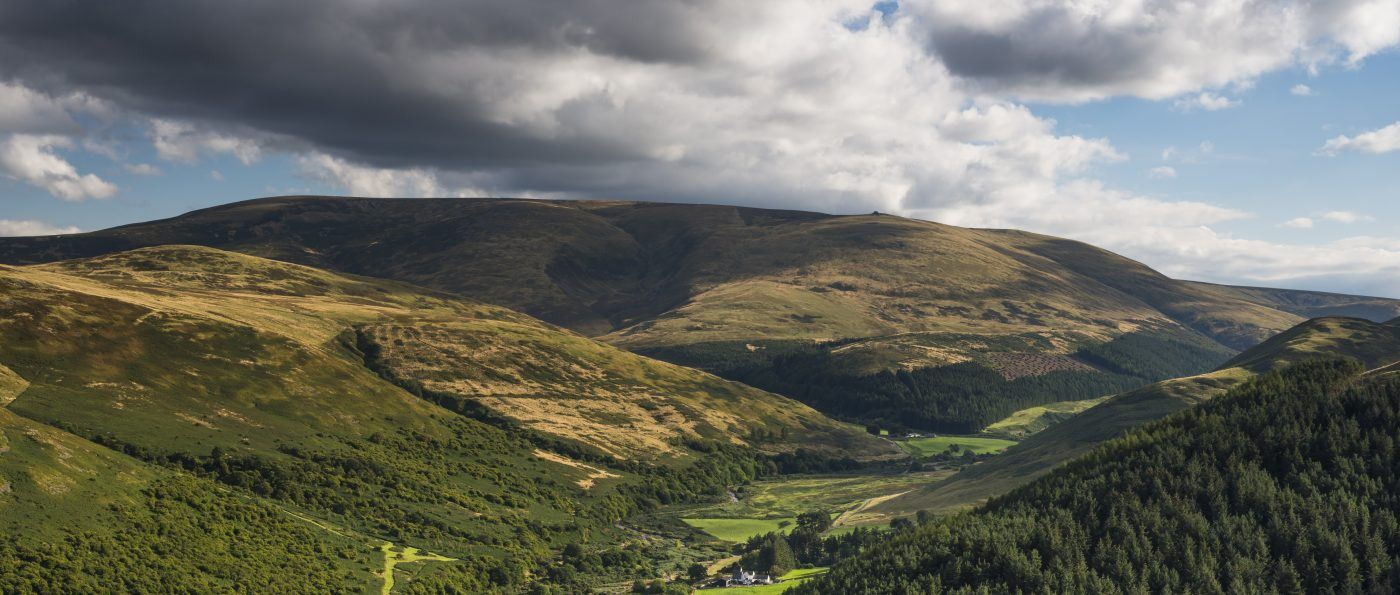 The College Valley and Cheviot from the summit of Great Hetha, Northumberland National Park, England