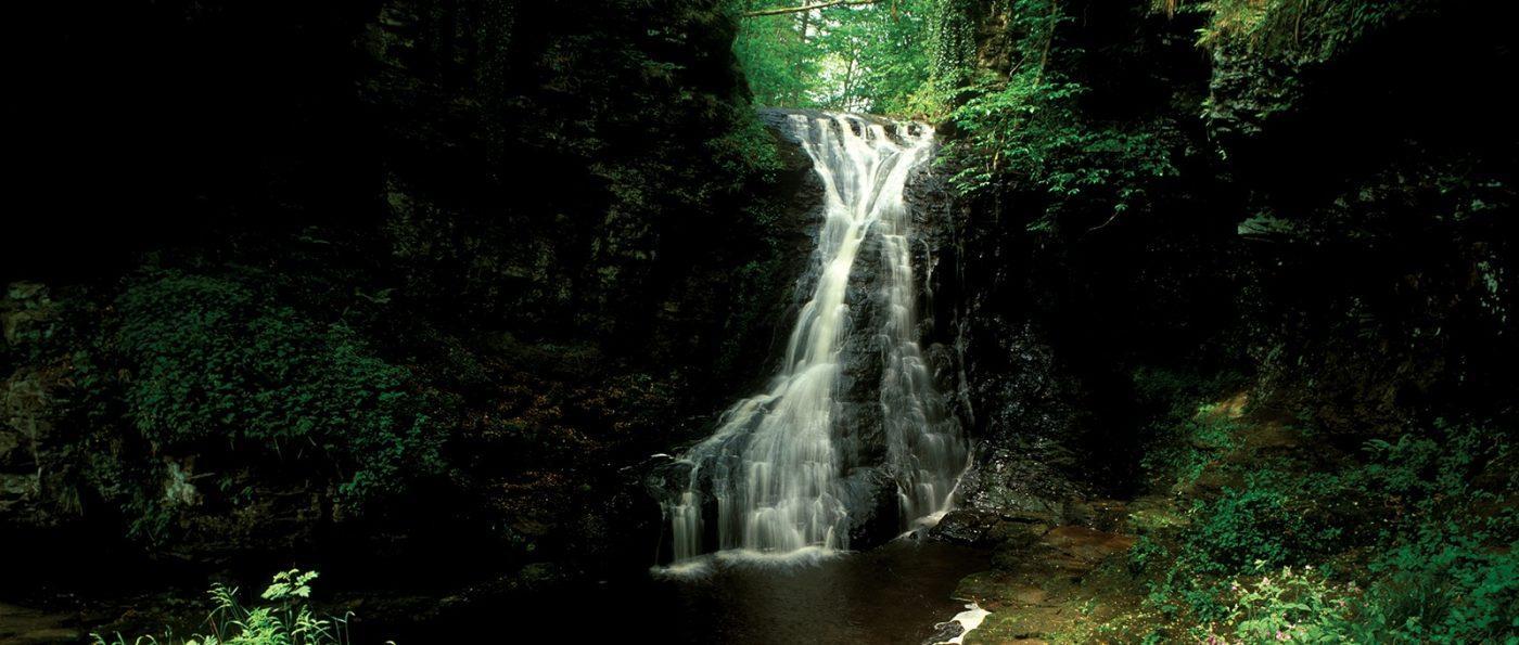 Hareshaw Linn waterfall in the Northumberland National Park