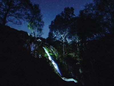Linhope Spout waterfall at night
