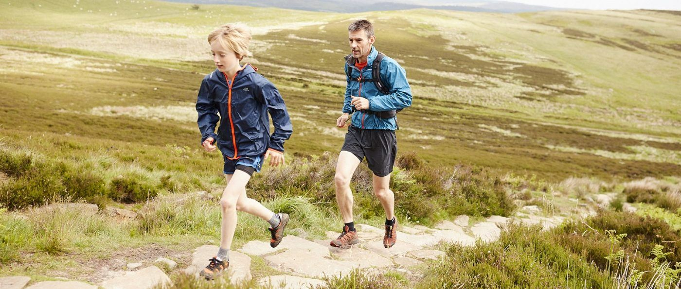 a father and son Running in the National Park