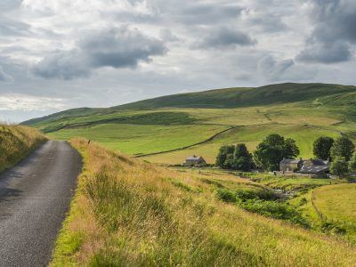 View of Shillmoor Farm in the Coquet Valley, Northumberland National Park, England