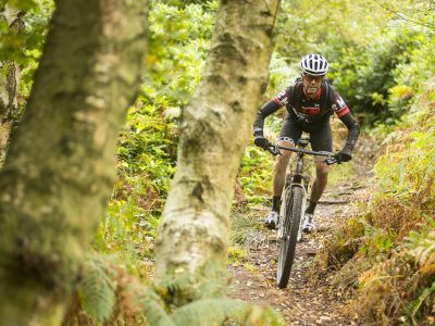 Rich Rothwell riding a mountain bike on the Sandstone Way