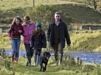 Young family on the Falstone Circular Walk