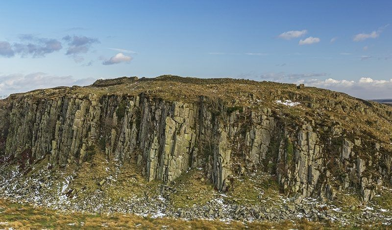 Panoramic view of Peel Crags from Steel Rigg in Hadrian's Wall Country