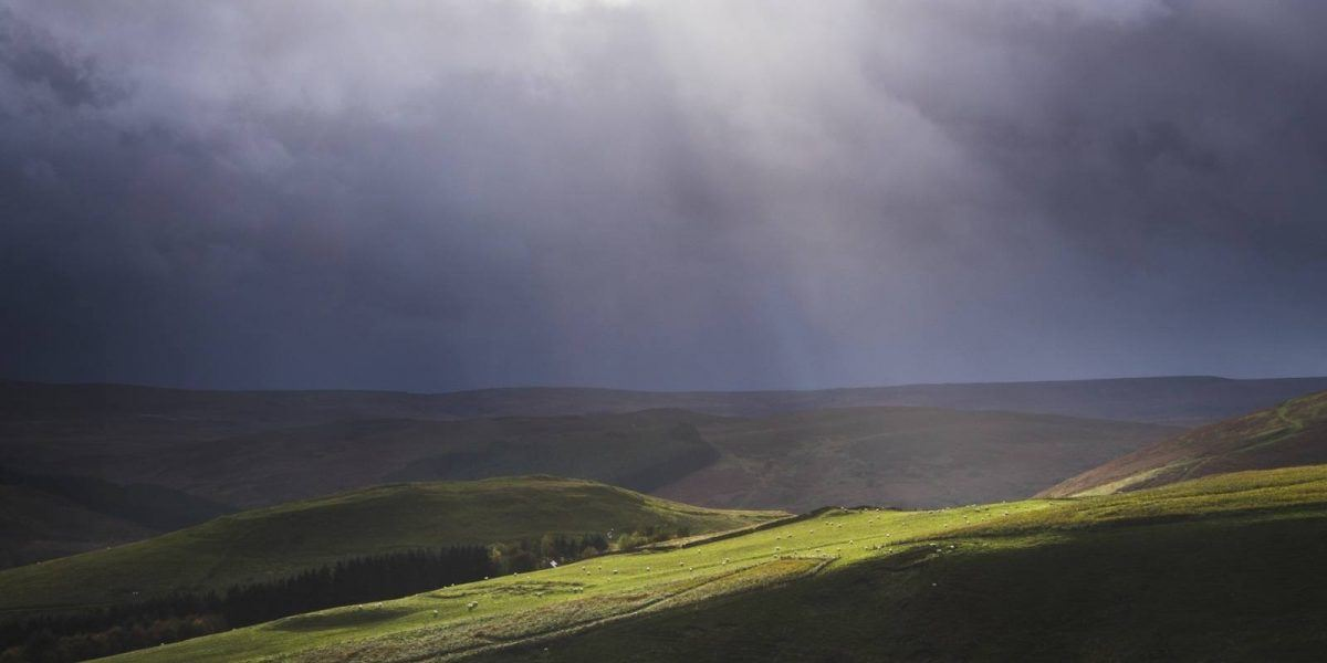 Shaft of light falling on the Coquet Valley near Alwinton