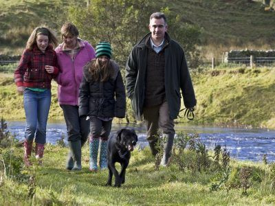 Family walking the Falstone Circular Walk