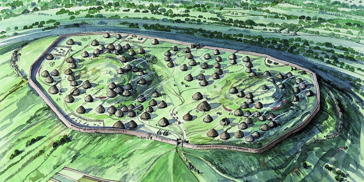 Artists impression of Yeavering Bell hillfort
