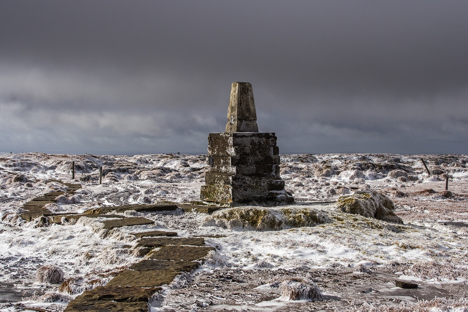 The trig point on the summit of The Cheviot