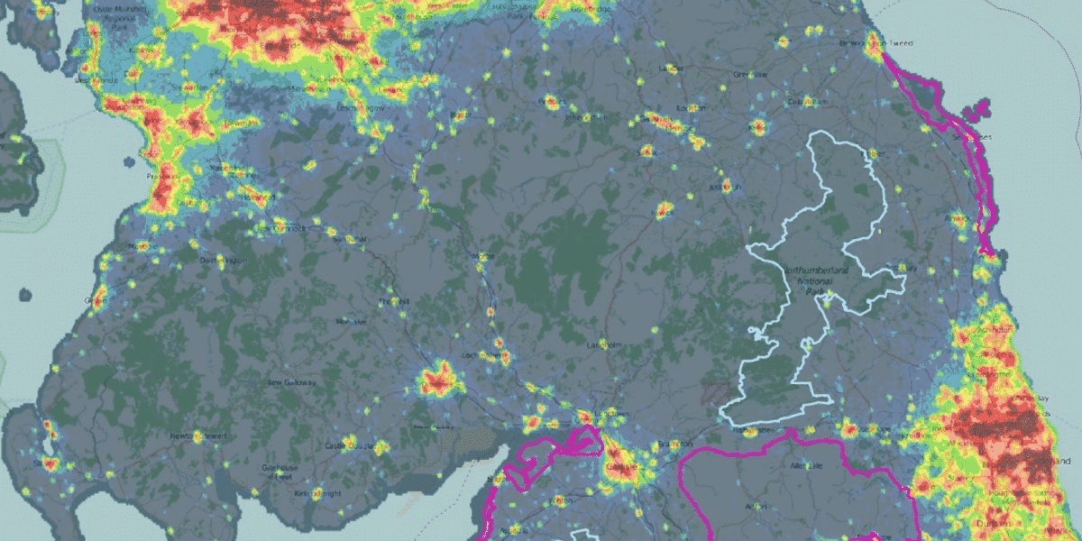 a map showing light pollution in the UK