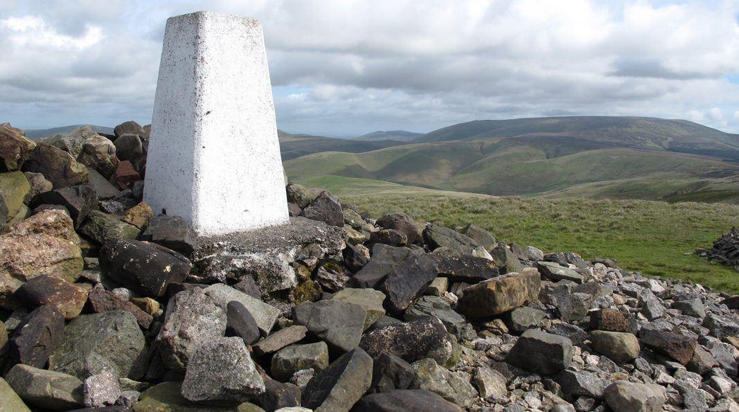 trig point on Windy Gyle summit