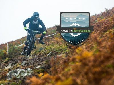 Naughty Northumbrian downhill mountain bikers and logo