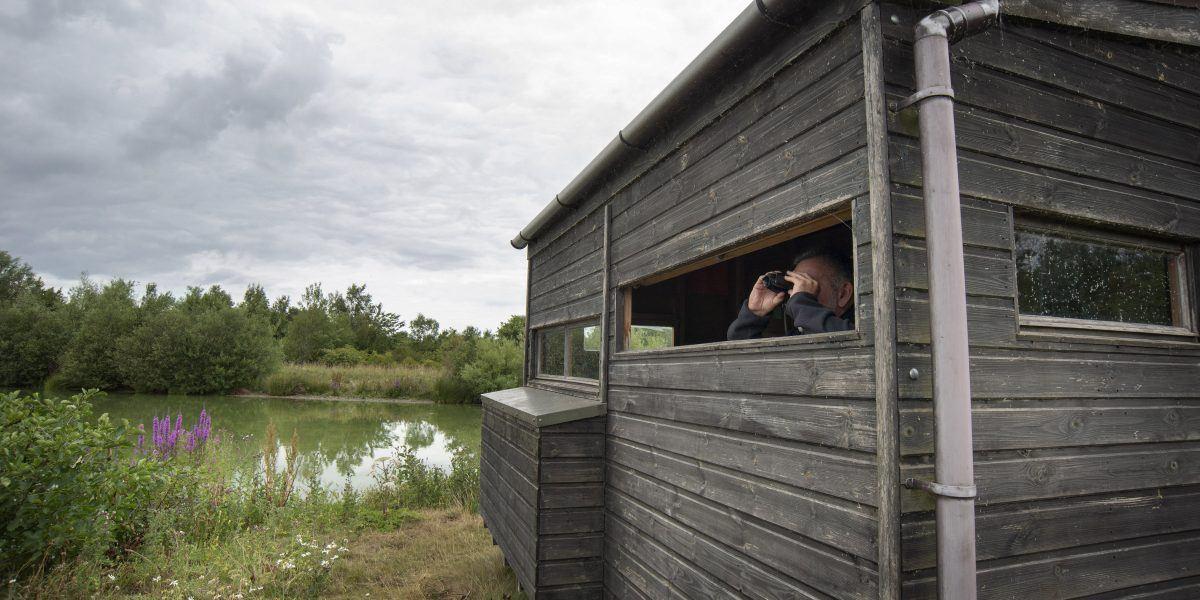 A couple in a bird hide at Branton lakes
