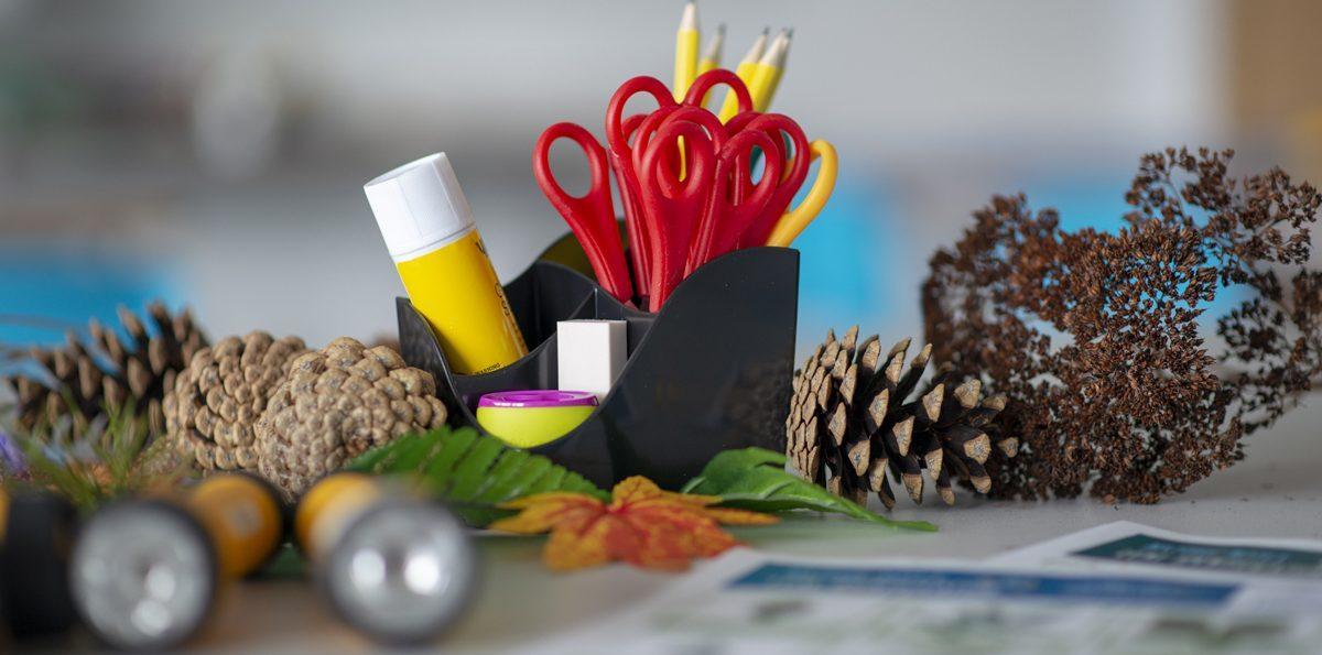 Art materials on a desk