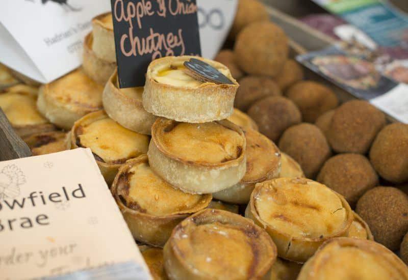 a close up photos of pies