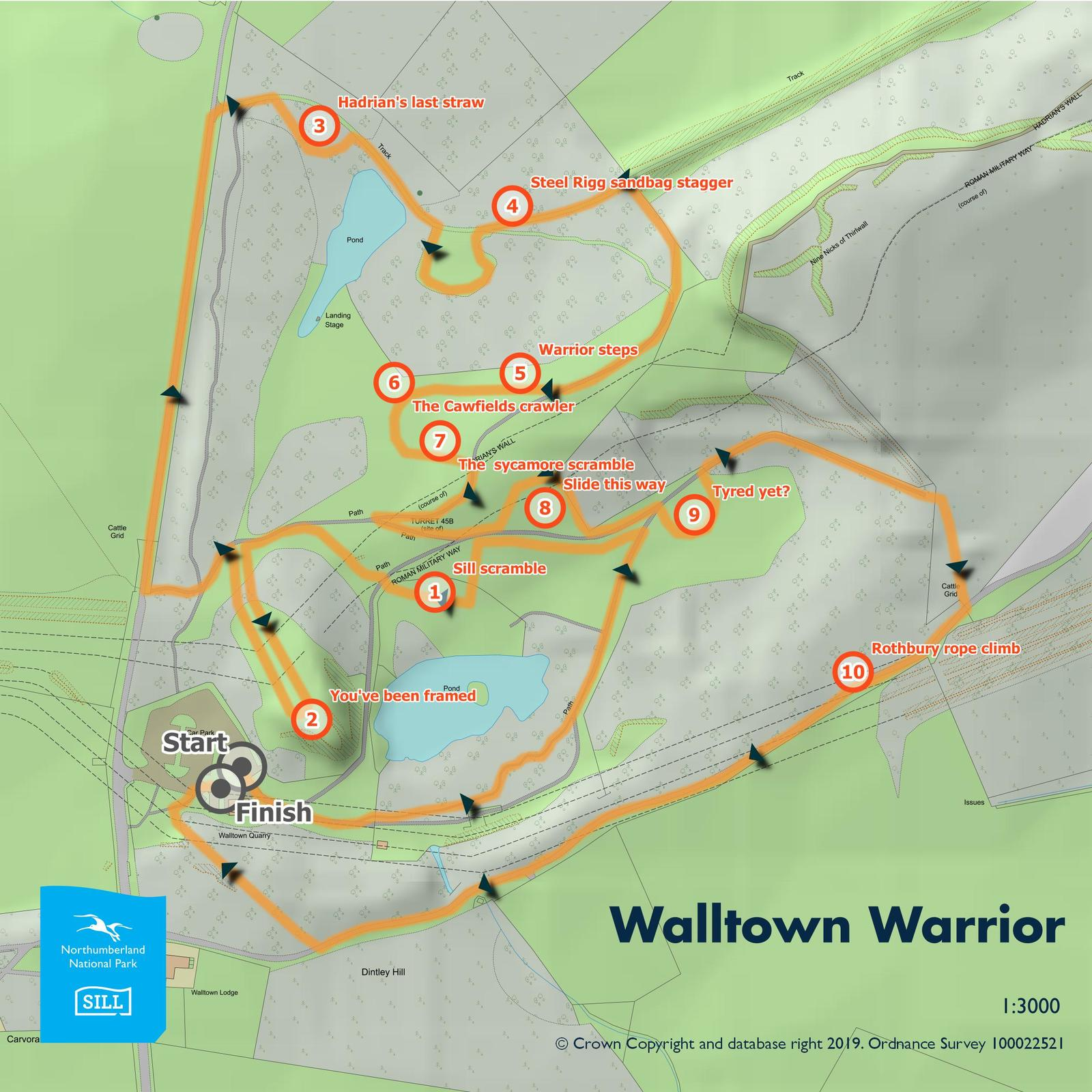 The route map for Walltown Warrior