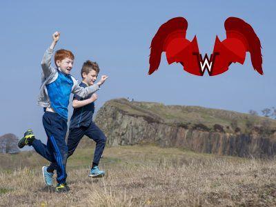 children running at walltown with the walltown warrior logo shown