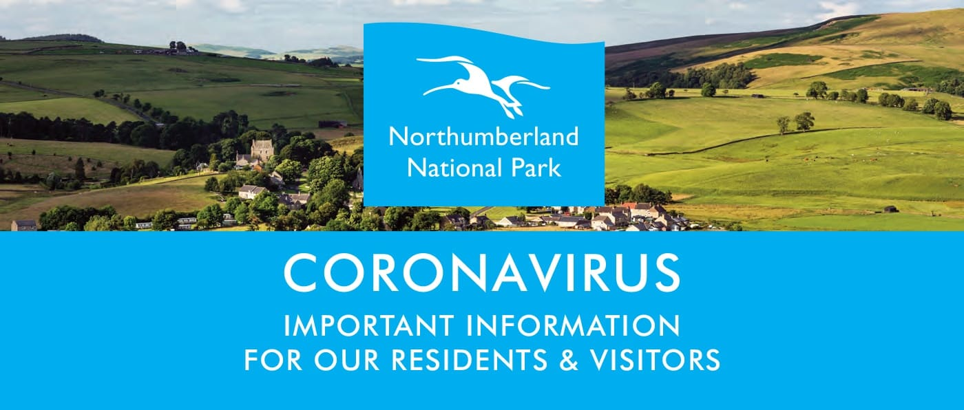 "A view of the countryside, overlaid with the National Park logo and text reading, ""Coronavirus important information for residents and visitors"