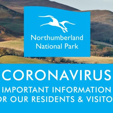 "A view of the Cheviot hills with the Northumberland National Park logo in the centre. Text reads ""Coronavirus Important information for our residents and visitors."""