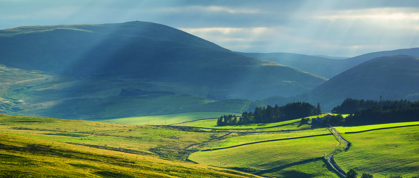 The view from Brough Law, looking down the Breamish Valley toward Hartside and Linhope