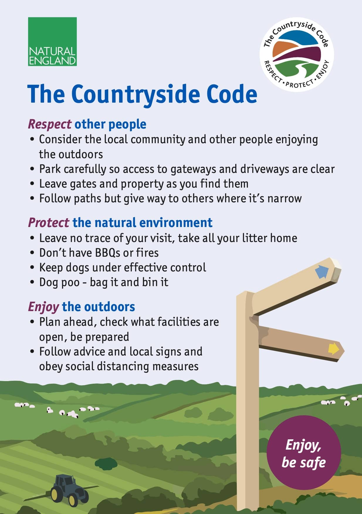 A poster showing the rules of the Countryside Code