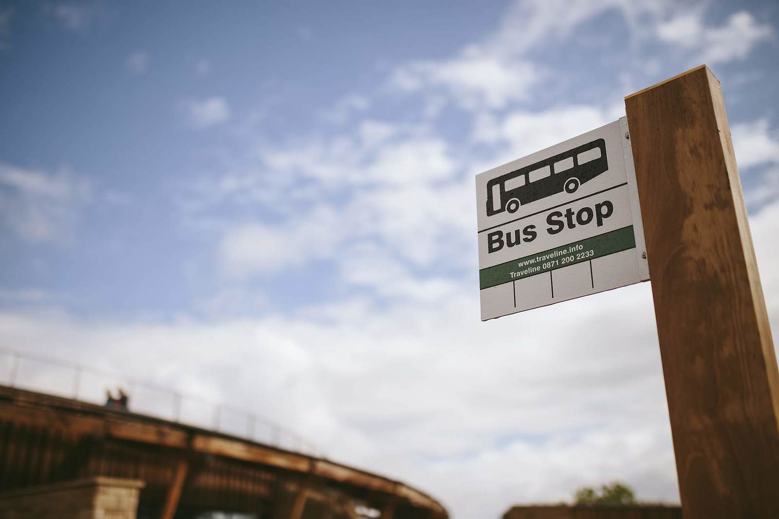 A bus stop sign at The Sill: National Landscape Discovery Centre