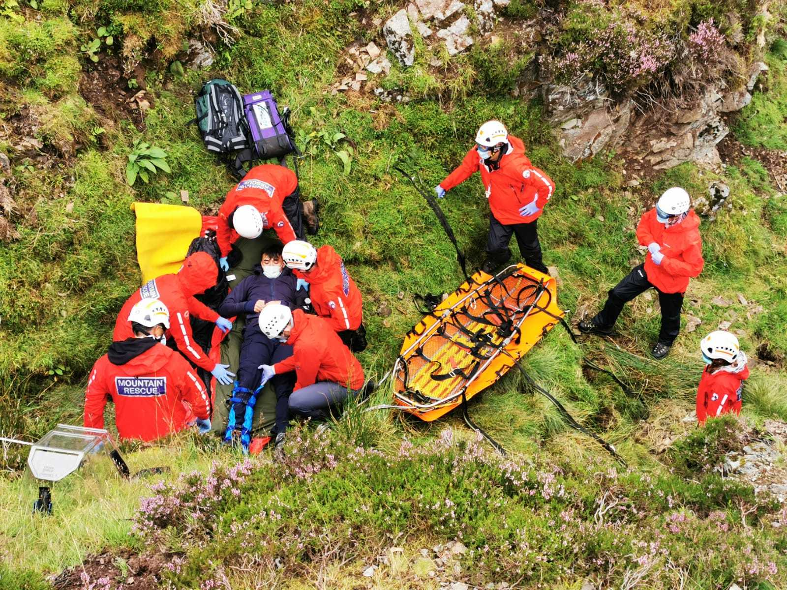 Mountain rescue volunteers working in the National Park
