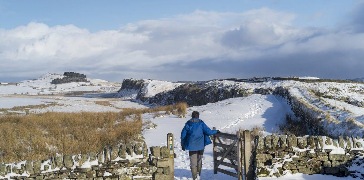 A male walker walking through the gate at Steel Rigg