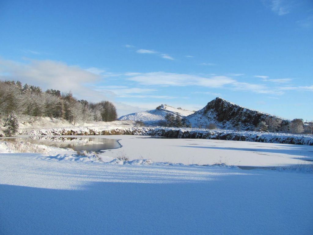 Cawfields on Hadrian's Wall with a covering of snow