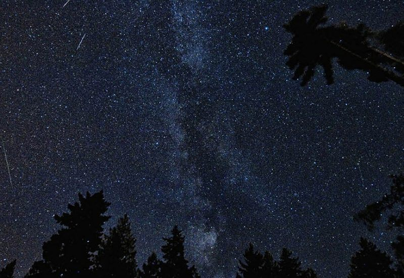 The Milky Way with several shooting stars