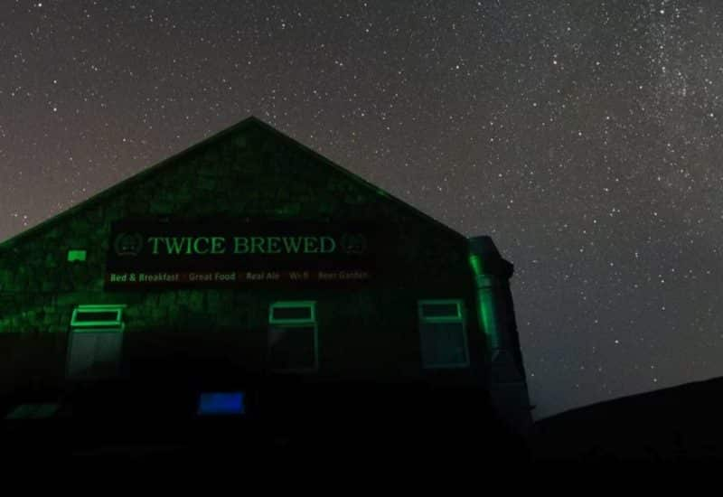 The Twice Brewed Public House at night