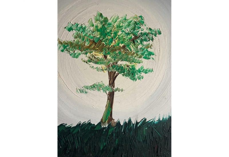 An oil painting of a tree