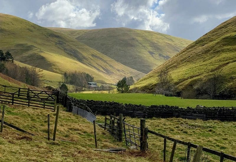 A landscape photograph of the Cheviot hills taken in Shillmoor, Northumberland