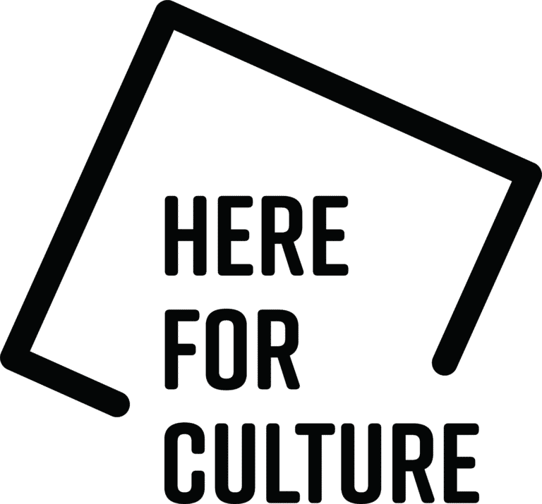 A black and white version of the Here For Culture logo