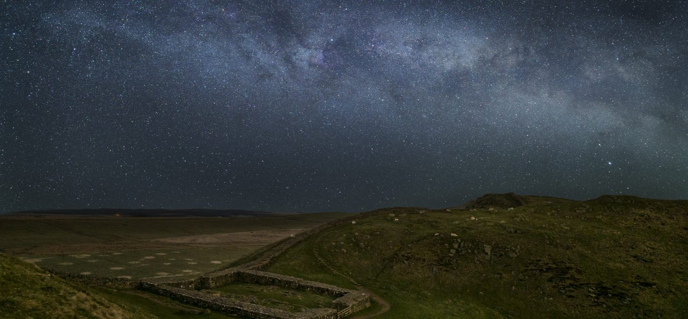 Milecastle 39 on Hadrian's Wall with the Milky Way visible above