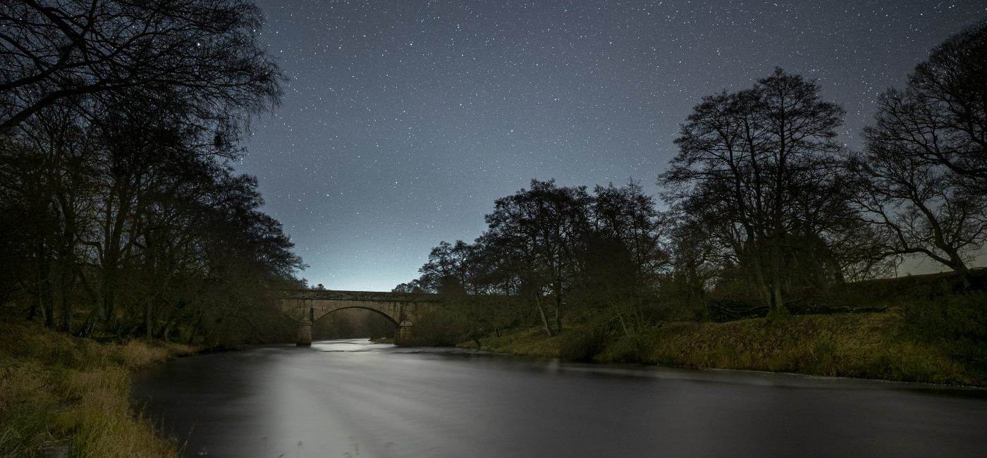 Stars visible in the skies over Falstone bridge