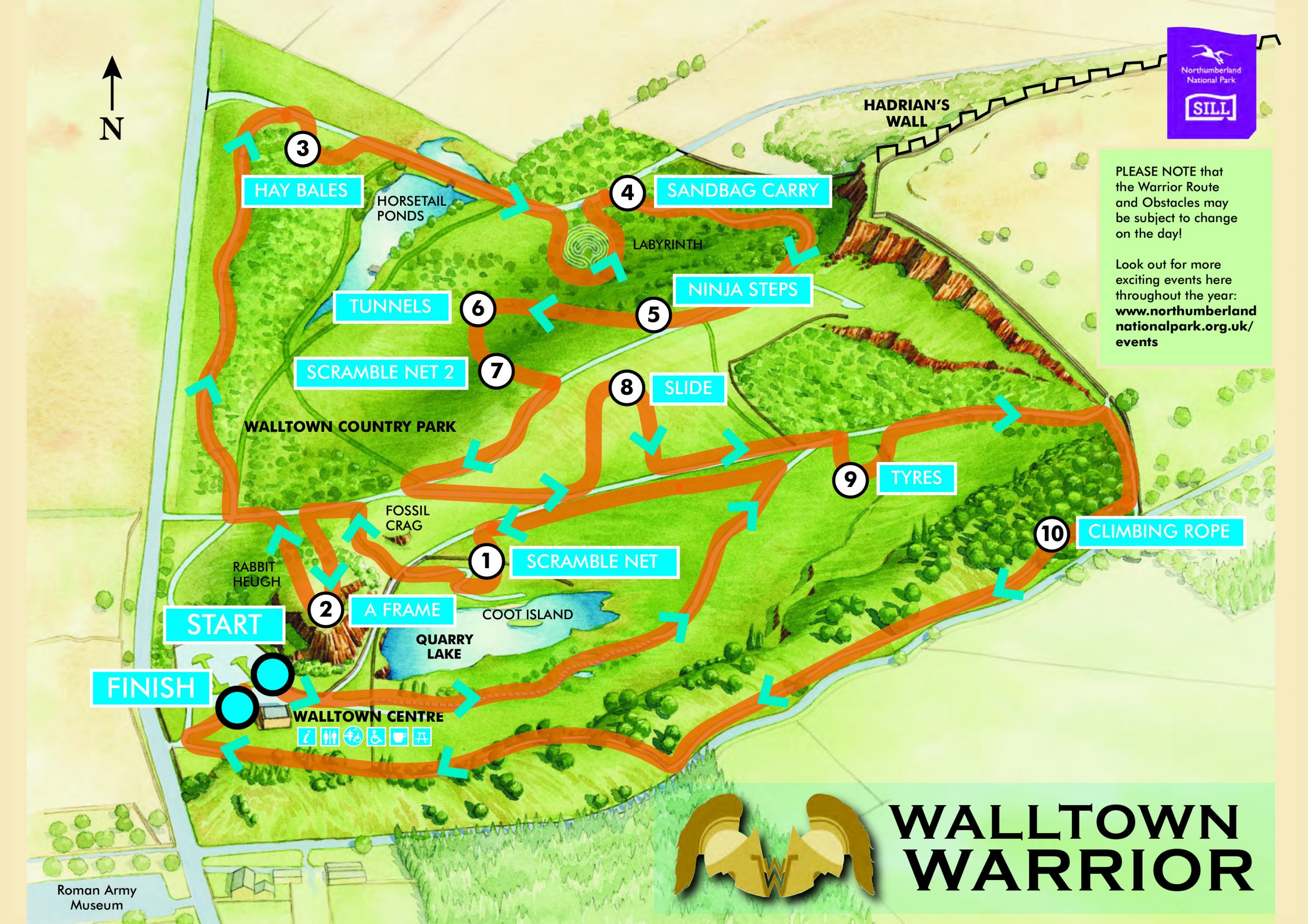 A graphic map showing the routes of the Walltown Warrior event at Walltown in the Northumberland National Park.