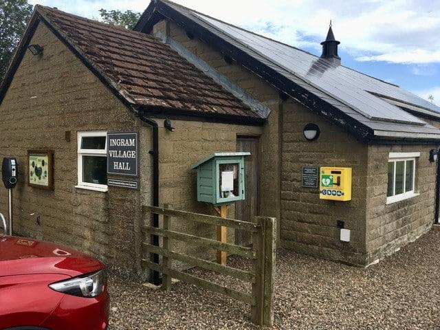 Automated External Defibrillator on the side of Ingram Village Hall