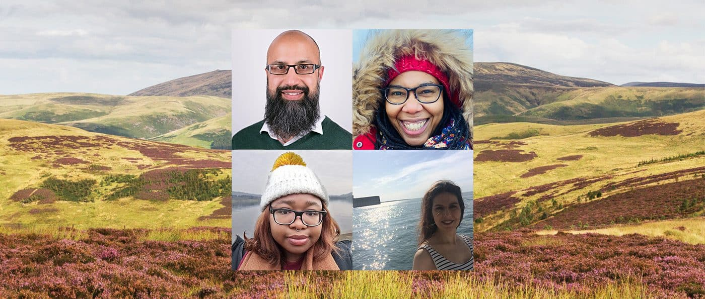 A photograph of moorland in Northumberland with four, square shaped photographs of the writers taking part in the Balck Nature in Residence showcase in a grid in the centre.