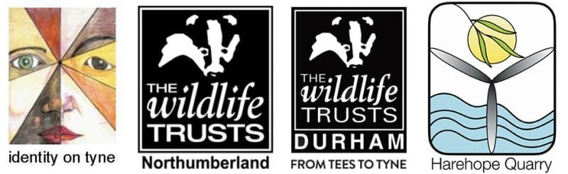 The logos of identity on tyne, the Northumberland Wildlife Trust, the Durham Wildlife Trust and the Harehope Quarry
