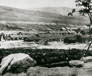 A black and white photograph showing a view of the workers huts at Catcleugh Reservour in the early 1900s.