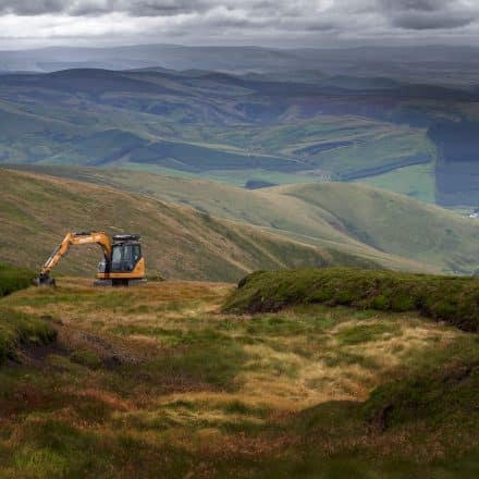 Digger carrying out work in Cheviot